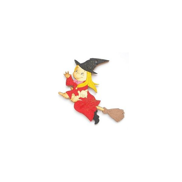 magnetka Ježibaba - dřevěné dekorace - dřevěné magnetky