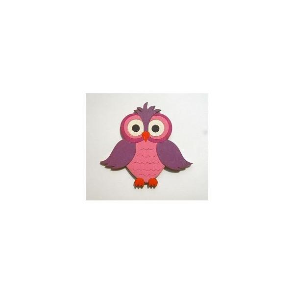 magnetka Sova fialová - dřevěné dekorace - dřevěné magnetky