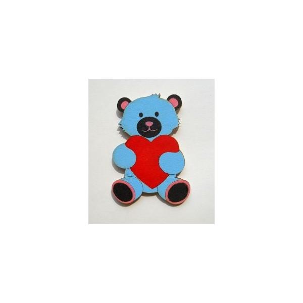magnetka Medvídek modrý - dřevěné dekorace - dřevěné magnetky
