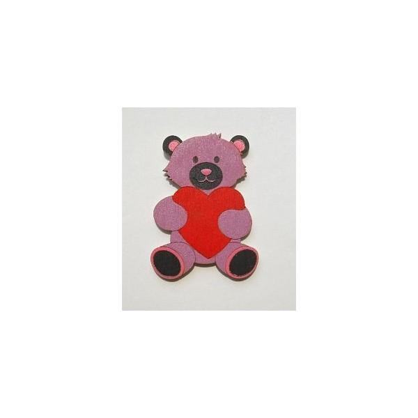magnetka Medvídek fialový - dřevěné dekorace - dřevěné magnetky