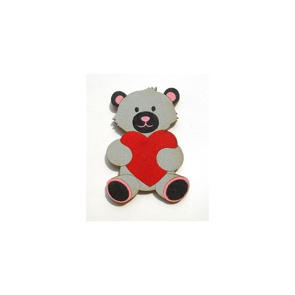 magnetka Medvídek šedý - dřevěné dekorace - dřevěné magnetky