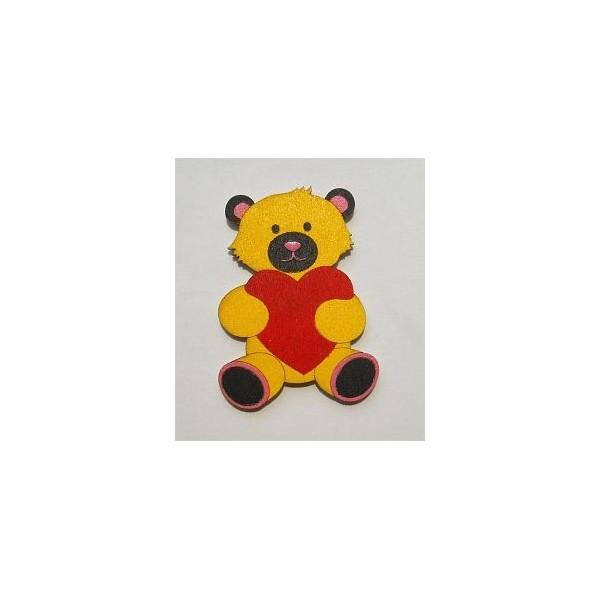 magnetka Medvídek žlutý - dřevěné dekorace - dřevěné magnetky