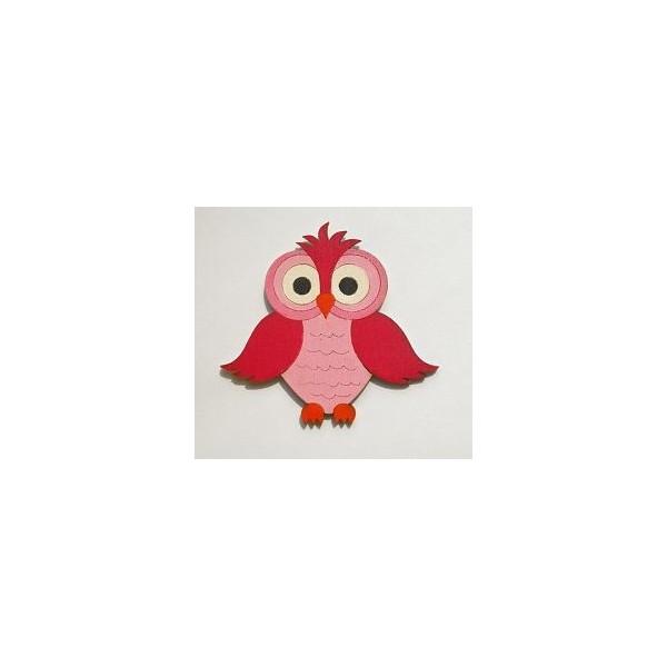 magnetka Sova růžová - dřevěné dekorace - dřevěné magnetky