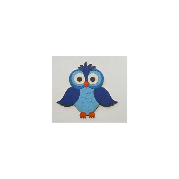 magnetka Sova modrá - dřevěné dekorace - dřevěné magnetky
