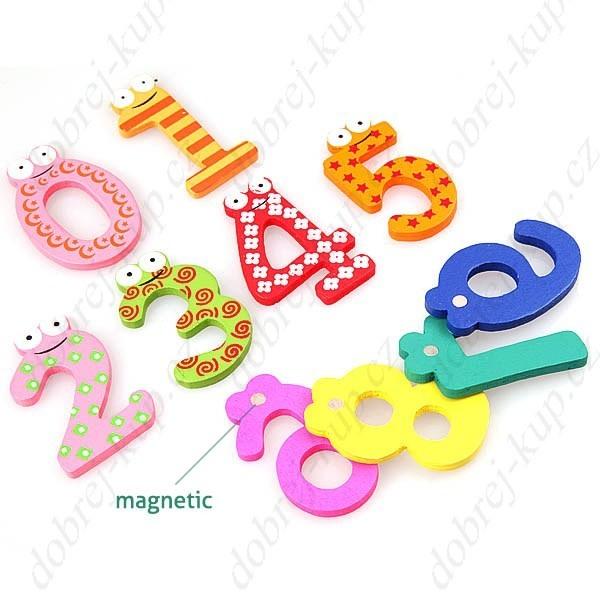 Magnetky Číslice - magnetická dřevěná dekorace
