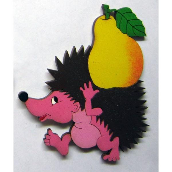 magnetka Ježek s hruškou - dřevěné dekorace - dřevěné magnetky
