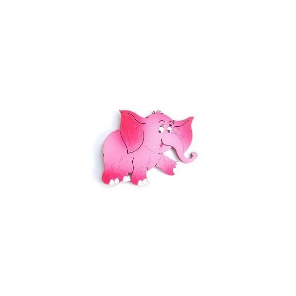 magnetka Růžový slon - dřevěné dekorace - dřevěné magnetky
