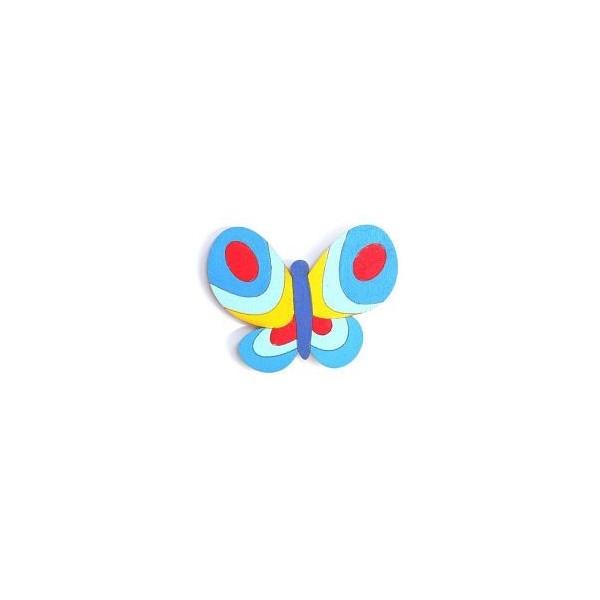 magnetka Motýl modrý - dřevěné dekorace - dřevěné magnetky