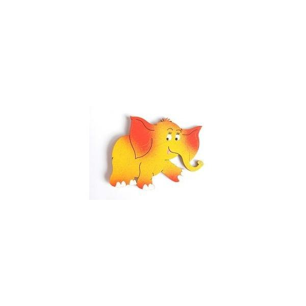 magnetka Oranžový slon - dřevěné dekorace - dřevěné magnetky