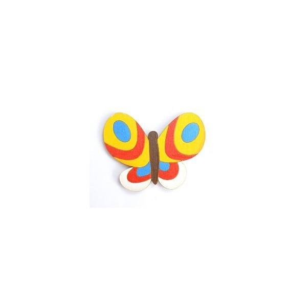 magnetka Motýl žlutý - dřevěné dekorace - dřevěné magnetky