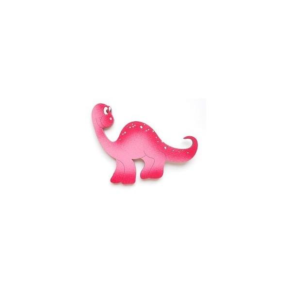 magnetka Brontosaurus růžový - dřevěné dekorace - dřevěné magnetky