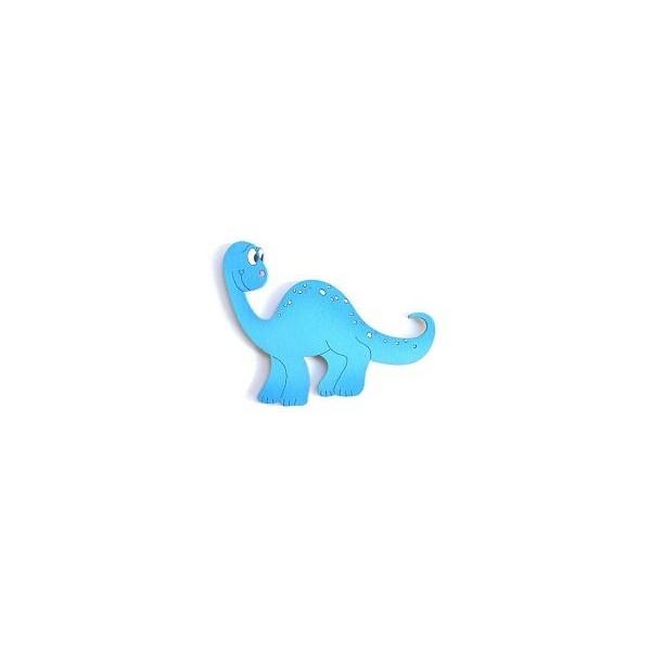 magnetka Brontosaurus modrý - dřevěné dekorace - dřevěné magnetky