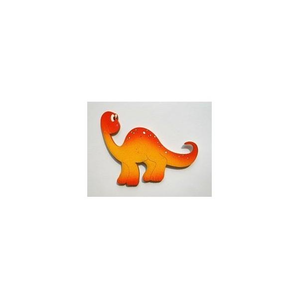 magnetka Brontosaurus oranžový - dřevěné dekorace - dřevěné magnetky