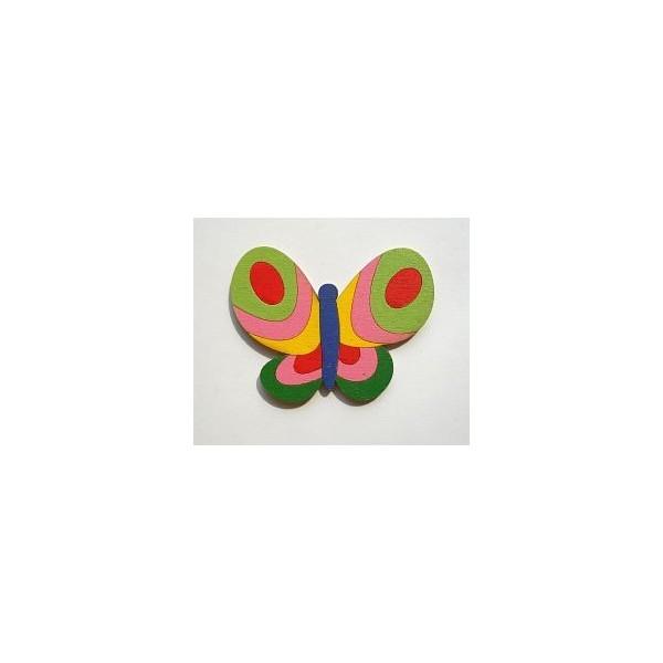 magnetka Motýl zelený - dřevěné dekorace - dřevěné magnetky
