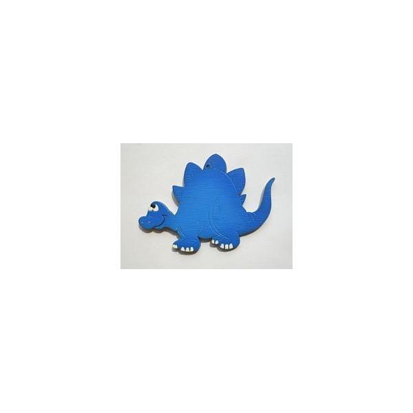 magnetka Stegosaurus modrý - dřevěné dekorace - dřevěné magnetky