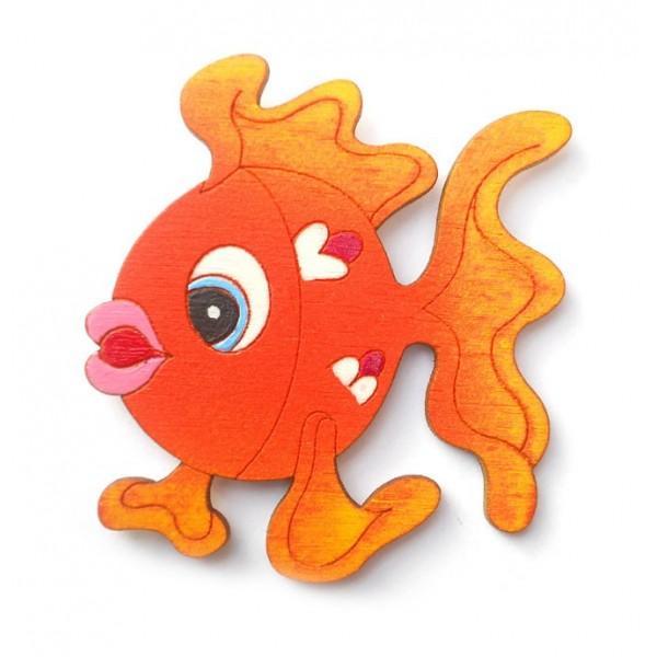 magnetka oranžová Rybička - dřevěné dekorace - dřevěné magnetky