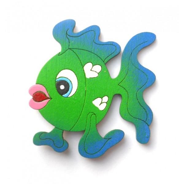 magnetka zelená Rybička - dřevěné dekorace - dřevěné magnetky