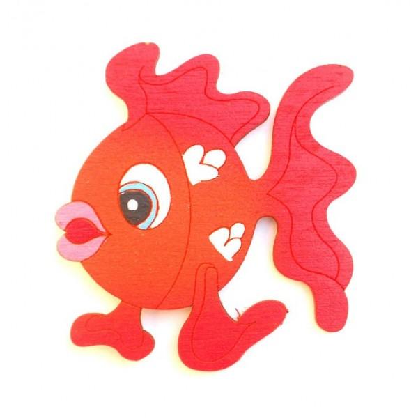 magnetka červená Rybička - dřevěné dekorace - dřevěné magnetky