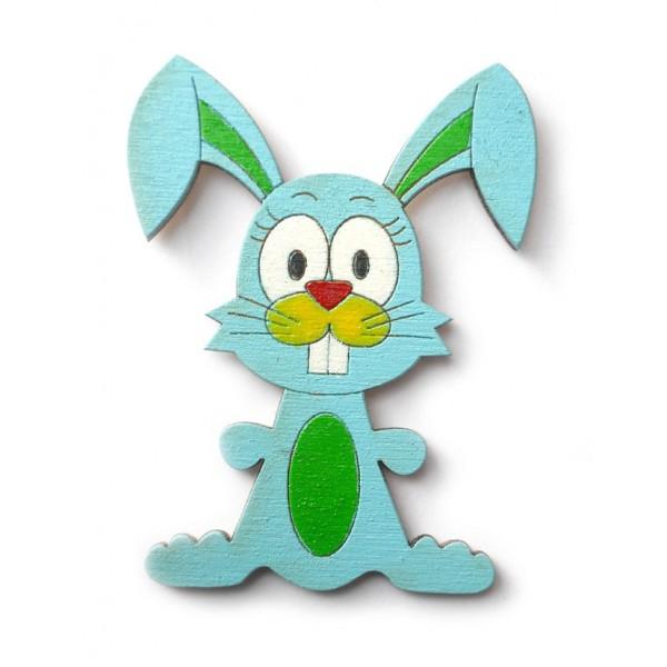 magnetka modrý Zajíc - dřevěné dekorace - dřevěné magnetky