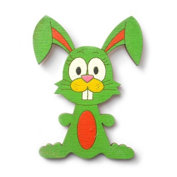magnetka zelený Zajíc - dřevěné dekorace - dřevěné magnetky