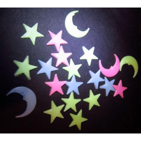 svítící magnetek - set měsíce a hvězdy