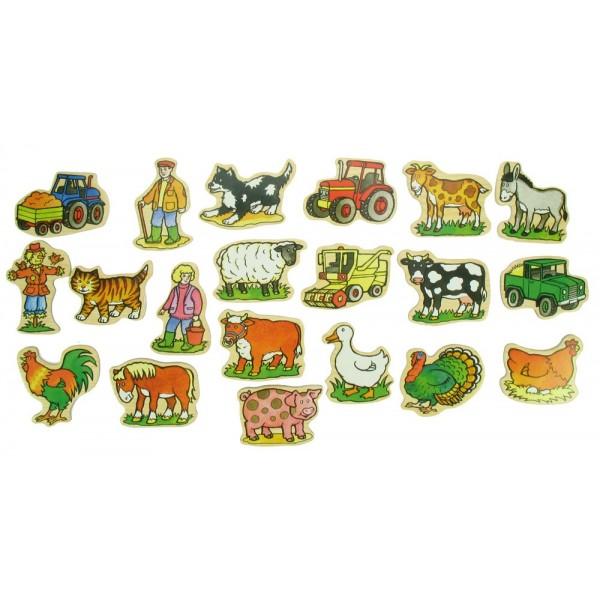 BIGJIGS - Dřevěné dekorace - dřevěné magnetky - Farma