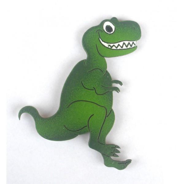 magnet T-rex ZELENÝ - dřevěné dekorace - dřevěné magnetky