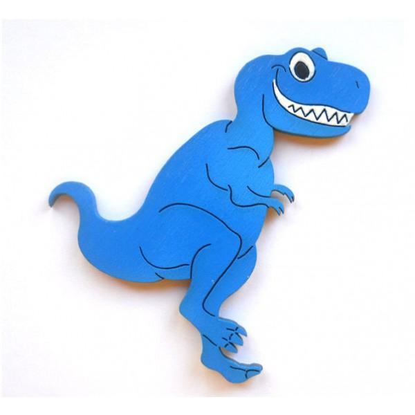 magnet T-rex Modrý - dřevěné dekorace - dřevěné magnetky