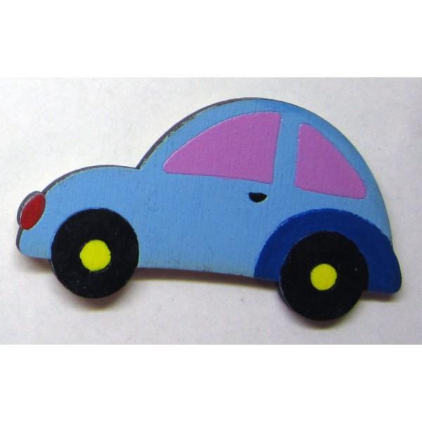 magnet AUTO modré - dřevěné dekorace - dřevěné magnetky