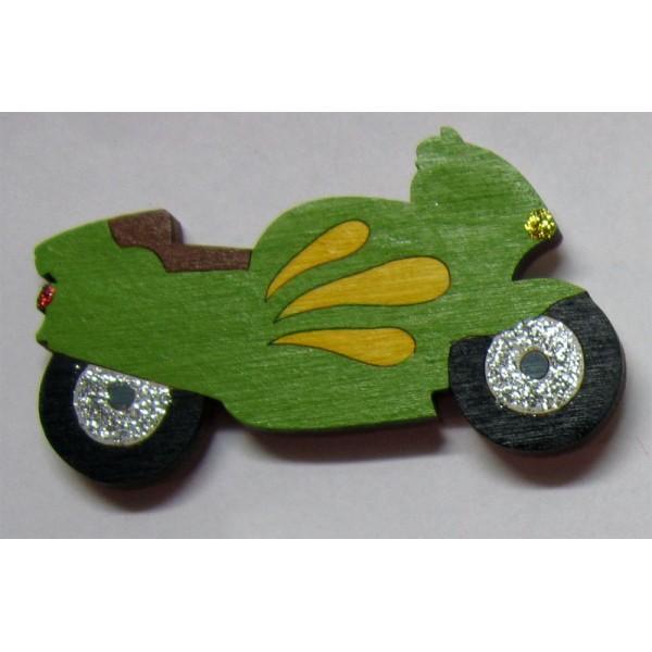 magnet Motorka zelená - dřevěné dekorace - dřevěné magnetky