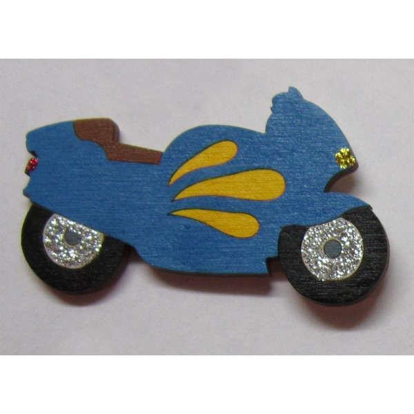 magnet Motorka modrá- dřevěné dekorace - dřevěné magnetky