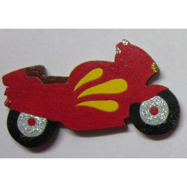 magnet Motorka červená - dřevěné dekorace - dřevěné magnetky
