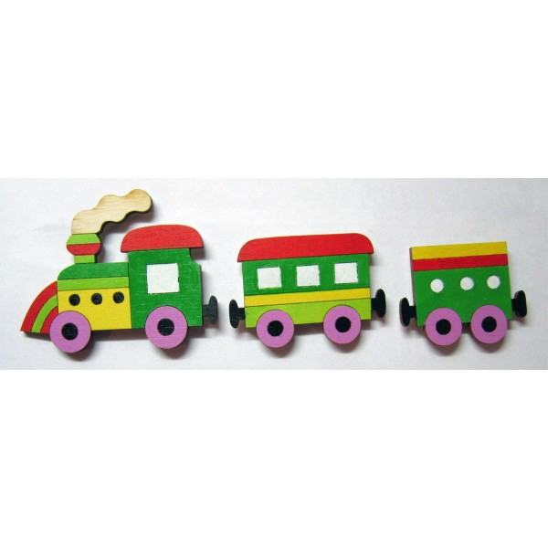 magnet vláček zelený sada - dřevěné dekorace - dřevěné magnetky