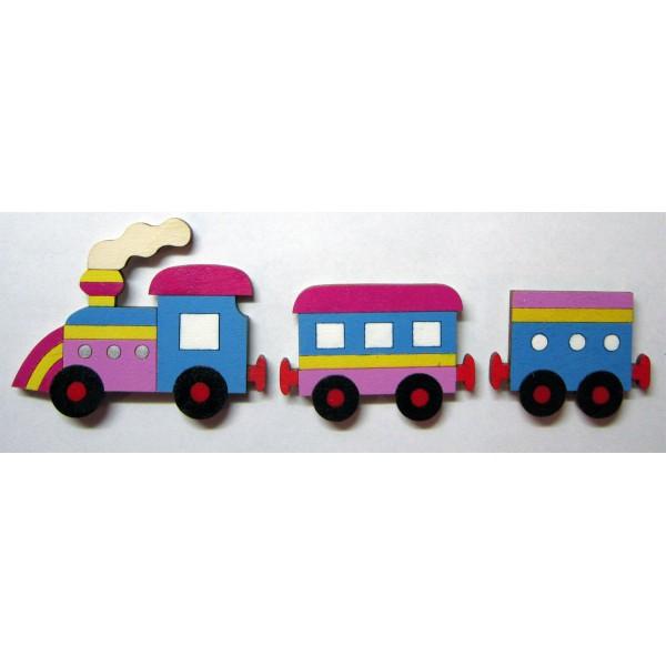 magnet Vláček modrý sada - dřevěné dekorace - dřevěné magnetky