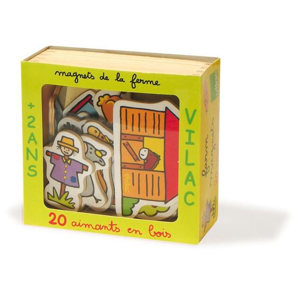 Hračky Vilac - Dřevěné magnetky farma - 20ks